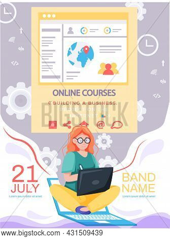 Online Education Or Business Training Banner. Video Course On Educational Platform, Project On Inter