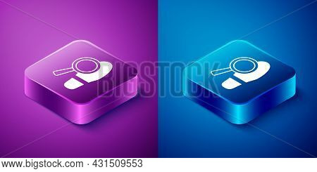 Isometric Magnifying Glass With Footsteps Icon Isolated On Blue And Purple Background. Detective Is