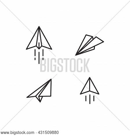 Set Of Simple Flat Paper Plane Icon Illustration Design, Paper Plane Symbol Collection With Outlined