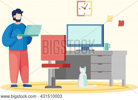 Man At Workplace In Office Or At Home. Character Works Remotely On Internet And Communicating Throug