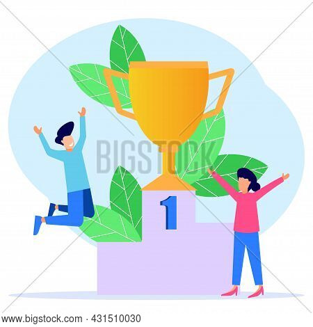 Flat Style Vector Illustration. The Winning Team With The Gold Trophy On The Podium. The Concept Of