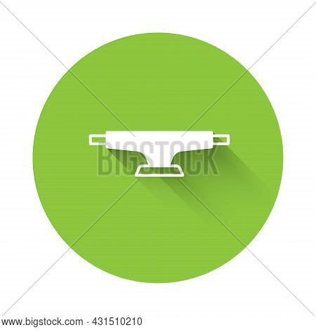 White Skateboard Wheel Icon Isolated With Long Shadow Background. Skateboard Suspension. Skate Wheel