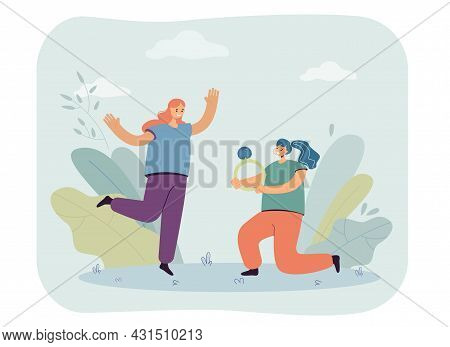Cartoon Woman Proposing To Girlfriend With Huge Wedding Ring. Happy Female Characters Getting Marrie