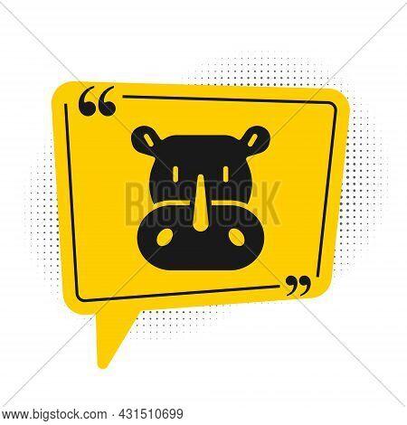 Black Rhinoceros Icon Isolated On White Background. Animal Symbol. Yellow Speech Bubble Symbol. Vect