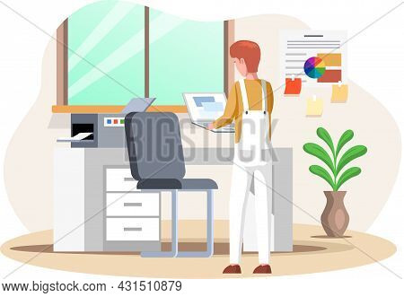 Man Surfing Internet Looking For Information In Computer. Person Working With Printer In Office Or P