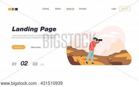 Happy Travel Photographer Taking Picture Of Nature Isolated Flat Vector Illustration. Cartoon Charac