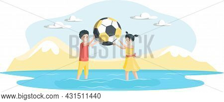 Happy Kids Playing Beach Ball In Sea Under Sun. Small Children In Summer Vacation Playing Volleyball