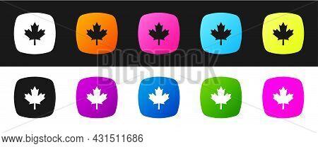 Set Canadian Maple Leaf Icon Isolated On Black And White Background. Canada Symbol Maple Leaf. Vecto