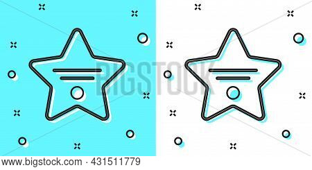 Black Line Walk Of Fame Star On Celebrity Boulevard Icon Isolated On Green And White Background. Hol