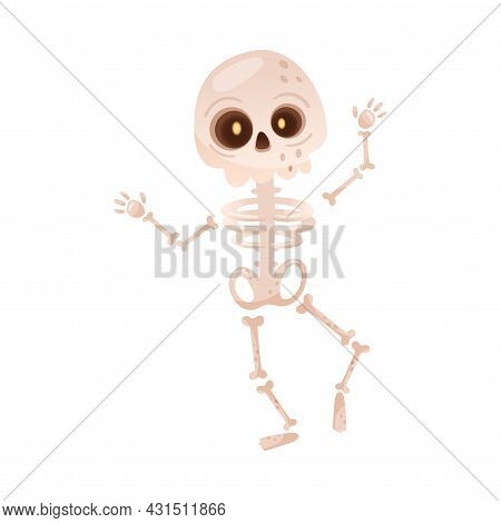 Bony Skeleton As Halloween Character Walking With Raised Hands Vector Illustration