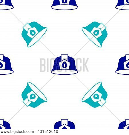 Blue Firefighter Helmet Or Fireman Hat Icon Isolated Seamless Pattern On White Background. Vector