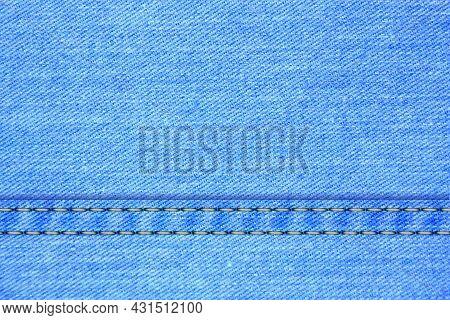 Vector Background Of Denim Blue Jeans Texture. Fashion Light Blue Canvas Material  Backdrop. Textile