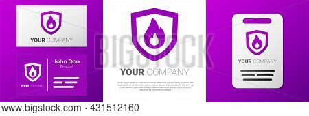 Logotype Fire Protection Shield Icon Isolated On White Background. Insurance Concept. Security, Safe