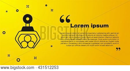 Black Grapple Crane Grabbed A Log Icon Isolated On Yellow Background. Forest Industry. Industrial Cr