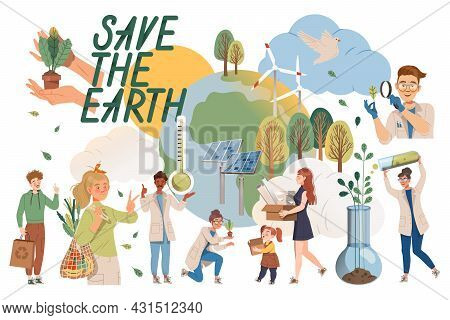 Saving Earth With People Character Taking Care Of Nature And Environment Using Reusable Bag And Alte