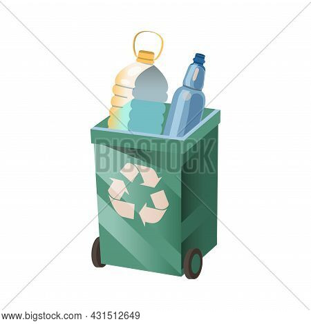 Dustbin With Plastic Bottles For Sorting And Recycling As Ecology And Environment Protection And Con