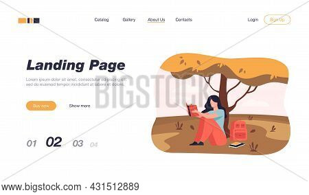 Student Reading Book Or Doing Her Homework Outdoors. Girl Sitting On Grass At Tree With Textbook And