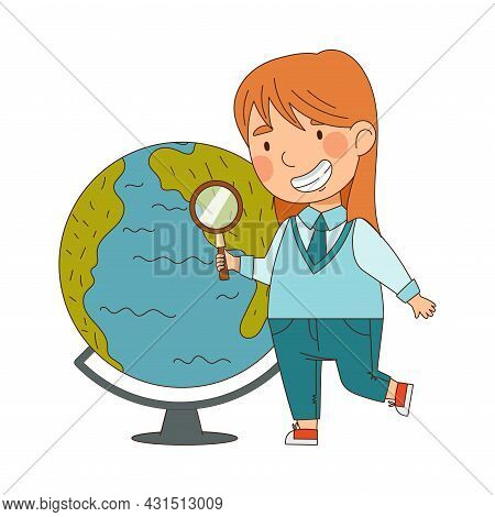 Back To School With Redhead Girl In Blue Uniform Standing Near Globe With Magnifying Glass Studying