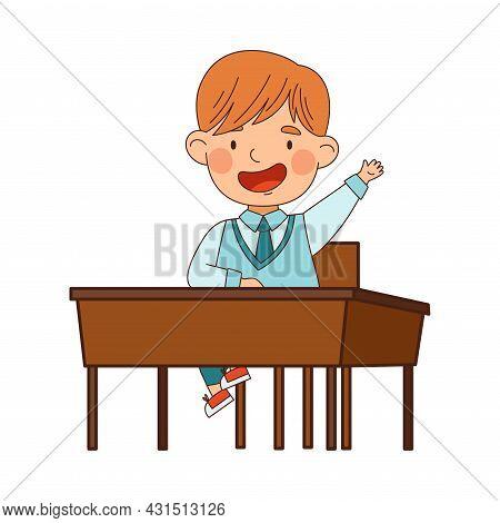 Back To School With Redhead Boy In Blue Uniform Sitting At Desk Raising Hand Vector Illustration