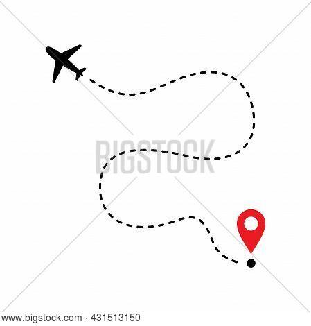 Simple Flat Plane Flight Route Illustration Design, Plane Flight Path Vector