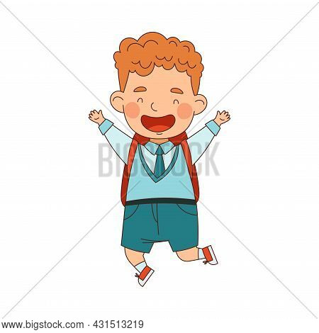 Back To School With Redhead Boy In Blue Uniform With Backpack Jumping With Joy Vector Illustration