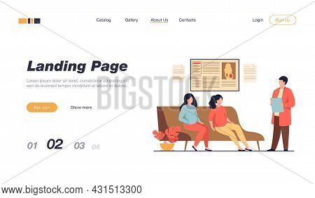 Pregnant Women Waiting At Doctor Office In Clinic, Sitting On Couch Or Consulting Specialist. Vector