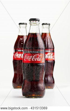 Tallinn, Estonia - 12.02.21 . A Bottle Of Coca Cola Soft Drinks. Isolated On White Cocacola Zero Shu