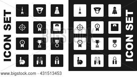 Set Badminton Shuttlecock, Medal, Target Sport, Dart Arrow, Bathroom Scales, And Icon. Vector