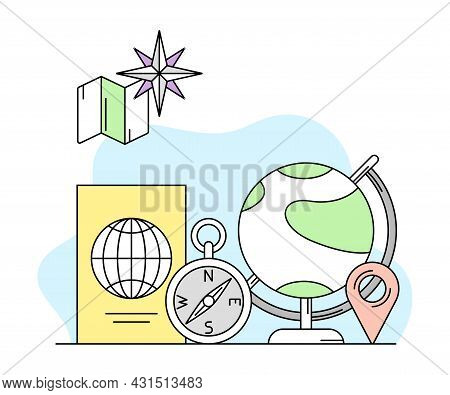 Science And Geography Study With Compass And Globe Vector Line Illustration