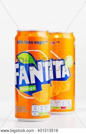 Tallinn, Estonia - 12.02.21. Fanta Drink In Orange Metal Can. Orange Testy Drink Carbonated Drink Cr
