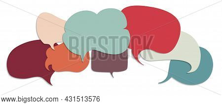 Speech Bubble Colored. Concept Multi-ethnic And Multiracial Diverse People. People Diversity Metapho