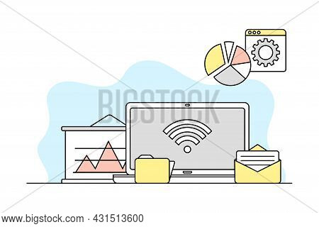 Computer Science And Technology Study With Programmed Machine And Folder Vector Line Illustration