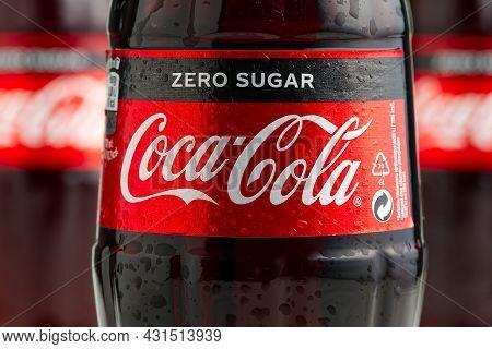 Tallinn, Estonia - 12.02.21 . A Bottle Of Coca Cola Soft Drinks. Cocacola Zero Shugar