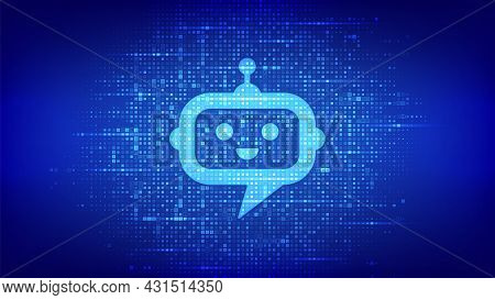 Robot Chatbot Head Icon Sign Made With Binary Code. Chatbot Assistant Application. Ai Concept. Digit