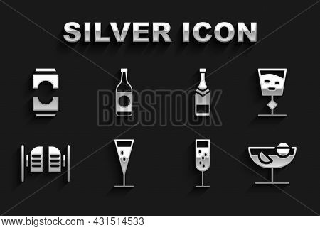 Set Glass Of Champagne, Wine Glass, Cocktail, Saloon Door, Champagne Bottle, Beer Can And Icon. Vect