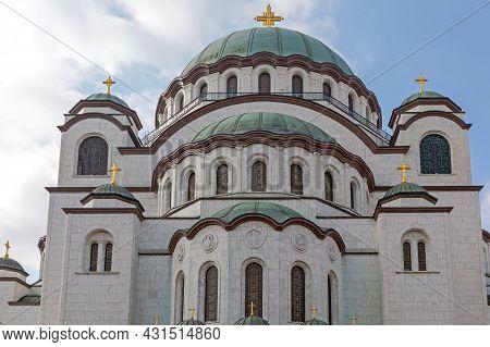 Rear View Of Saint Sava Church In Belgrade Serbia