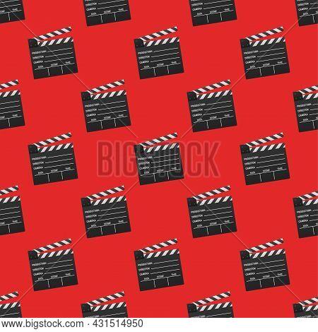 Black Closed Clapperboard Pattern. Vector Stock Illustration.