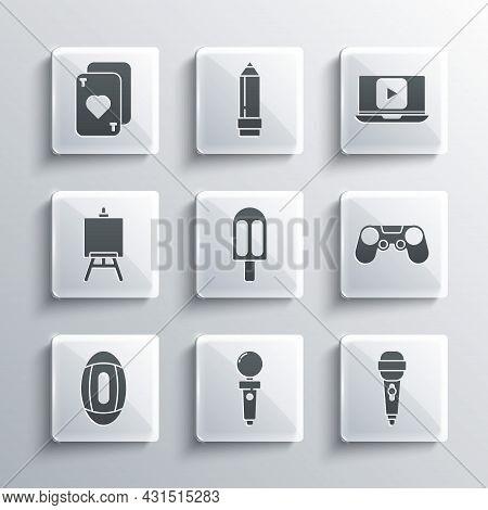 Set Joystick For Arcade Machine, Microphone, Gamepad, Ice Cream, American Football Ball, Easel Paint