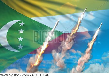 Modern Strategic Rocket Forces Concept On Blue Sky Background, Comoros Ballistic Warhead Attack - Mi