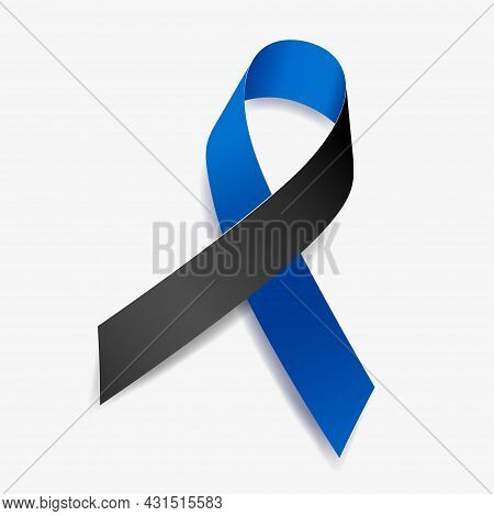 Blue And Black Ribbon Awareness Ocular Melanoma, Police Officers Lost In The Line Of Duty. Isolated