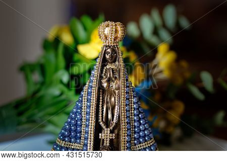 Statue Of The Image Of Our Lady Of Aparecida, Mother Of God In The Catholic Religion, Patroness Of B