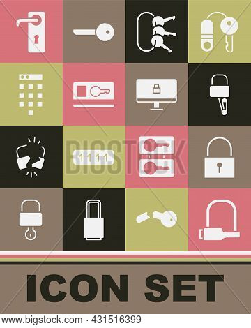 Set Bicycle Lock, Lock, Picks For Picking, Bunch Of Keys, Key Card, Password Protection, Door Handle
