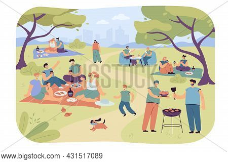 Families And Friends Resting In City Park. Flat Vector Illustration. Happy People And Children Relax