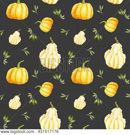 Watercolor Autumn Pumpkin Seamless Pattern On A Dark Background. Orange Round Gourd With Leaves And