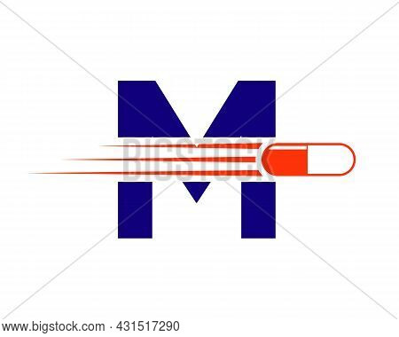 Medicine Logo With M Letter. M  Medicine Pill Or Tablet Logo Concept. Capsule Pharmacy Medical Logo
