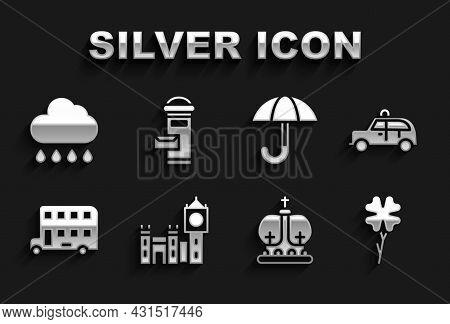 Set Big Ben Tower, Taxi Car, Four Leaf Clover, British Crown, Double Decker Bus, Umbrella, Cloud Wit