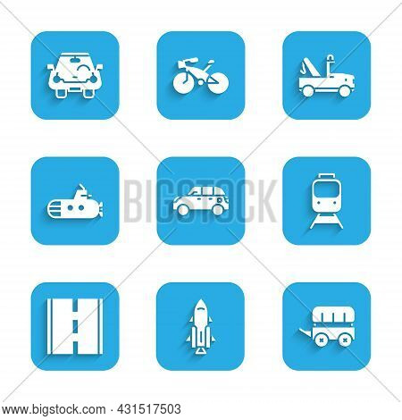 Set Hatchback Car, Rocket Ship With Fire, Wild West Covered Wagon, Train And Railway, Road, Submarin