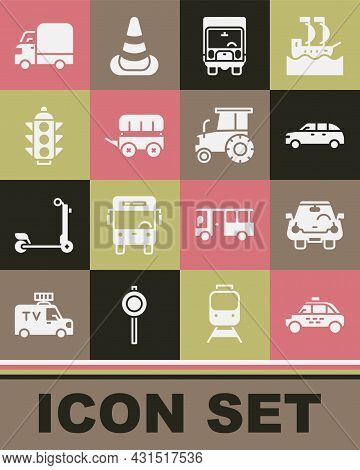 Set Taxi Car, Car, Hatchback, Delivery Cargo Truck, Wild West Covered Wagon, Traffic Light, And Trac