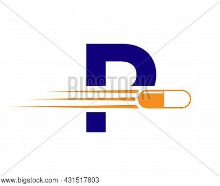 Medicine Logo With P Letter. P  Medicine Pill Or Tablet Logo Concept. Capsule Pharmacy Medical Logo