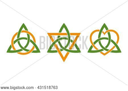 Colored Triquetras, Intertwined With Three Orange Colored Symbols. Green Celtic Knots, Triangle Shap